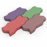 Цветная резиновая брусчатка Волна 40 мм